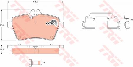 Колодки дисковые Передние, TRW, GDB1630