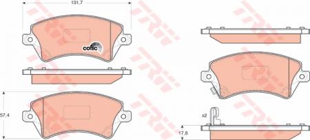 Колодки дисковые Передние, TRW, GDB3288