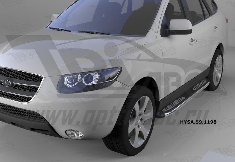 Пороги алюминиевые (Zirkon) Hyundai Santa Fe (Хёндай Санта Фе) (2006-2010-2012) кроме Тагаз, HYSA591