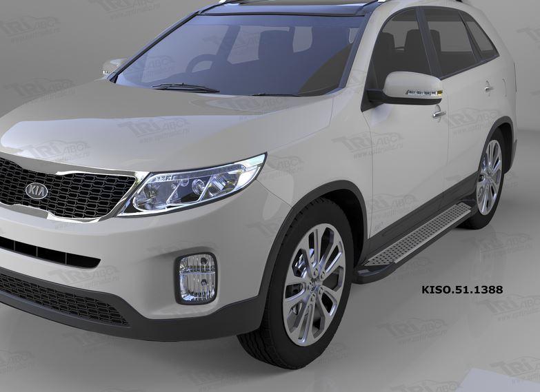 Пороги алюминиевые (Sapphire Silver) Kia Sorento (Киа Соренто) (2012-), KISO511388