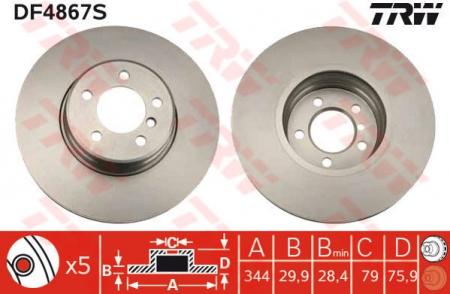 Диск тормозной передний, TRW, DF4867S