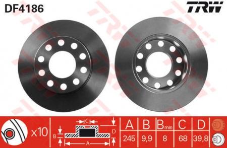 Диск тормозной задний, TRW, DF4186