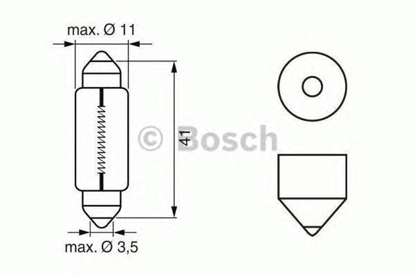 Лампа Trucklight, 24 В, 10 Вт, SV8,5-8, BOSCH, 1 987 302 521