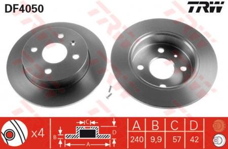 Диск тормозной задний, TRW, DF4050