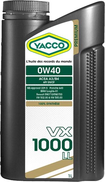 Масло моторное YACCO VX 1000 LL синт. 0W40,SN, CF (1 л)