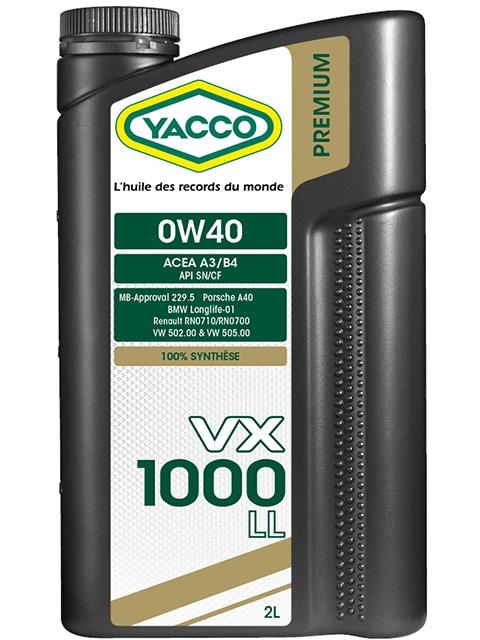 Масло моторное YACCO VX 1000 LL синт. 0W40,SN, CF (2 л)