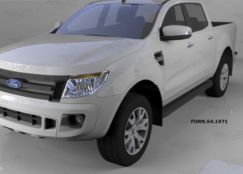 Пороги алюминиевые (Sapphire Black) Ford Ranger (2012-) 4 дв, FORN541971
