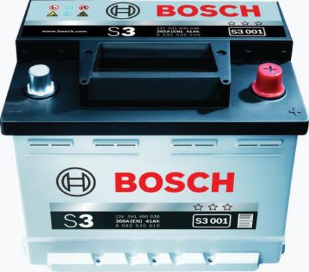 Аккумуляторная батарея Bosch S3, 12 В, 41 А/ч, 360 А, 0092S30010