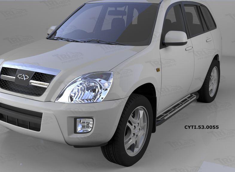 Пороги алюминиевые (Corund Silver) Chery Tiggo (2006-)/Vortex Tingo (2010-), CYTI530055