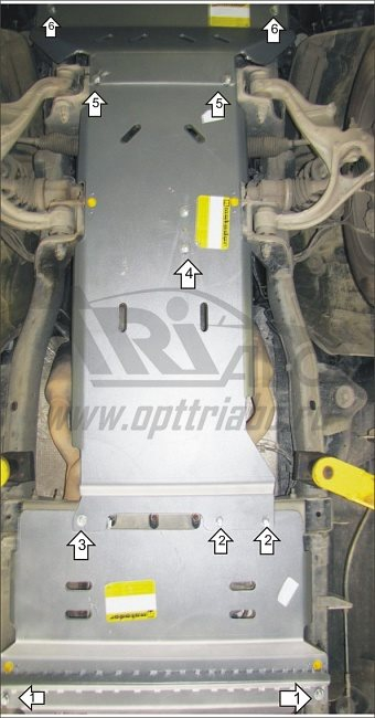 Защита картера двигателя, ПДФ, КПП, РК, радиатора Dodge Ram 2009- V=5,7i, 4wd, АКПП (сталь 3 мм), MO