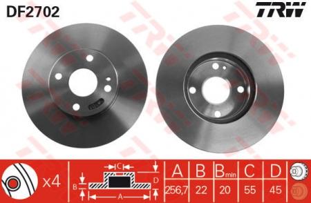 Диск тормозной передний, TRW, DF2702