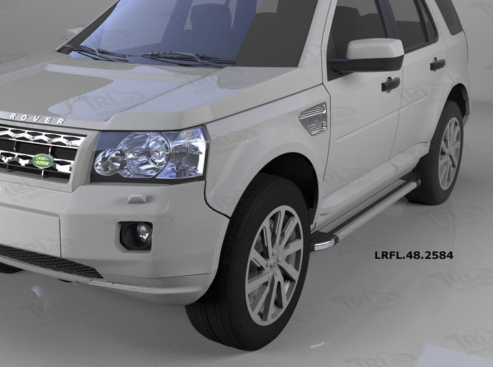 Пороги алюминиевые (Brillant) Land Rover Freelander 2 (2008-) (серебр), LRFL482584