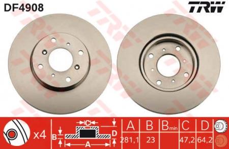 Диск тормозной передний, TRW, DF4908
