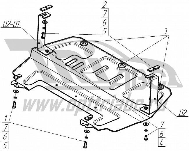 Защита картера двигателя, КПП Volkswagen Polo 09-15/ Polo Седан10-15-/Skoda Fabia 07-10-/Rapid 12-/R