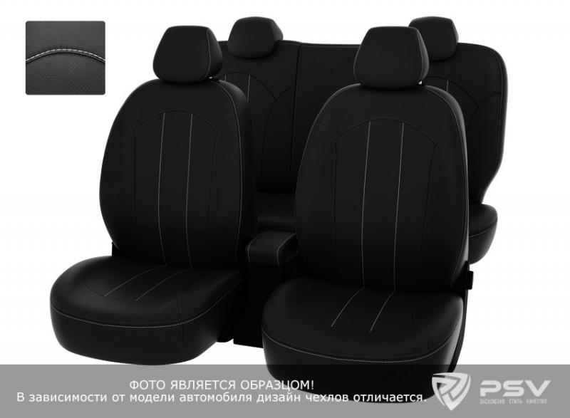 """Чехлы Hyundai Tucson 15-> черный/отстрочка белая, экокожа """"Оригинал"""", 126932"""