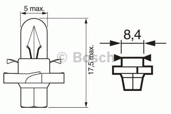 Лампа Pure Light, 12 В, 1,2 Вт, BAX, BX8,4d, BOSCH, 1 987 302 235
