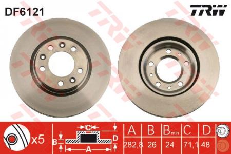 Диск тормозной передний, TRW, DF6121
