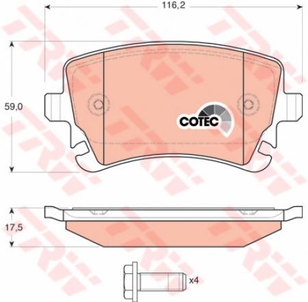 Колодки дисковые Задние, TRW, GDB1516