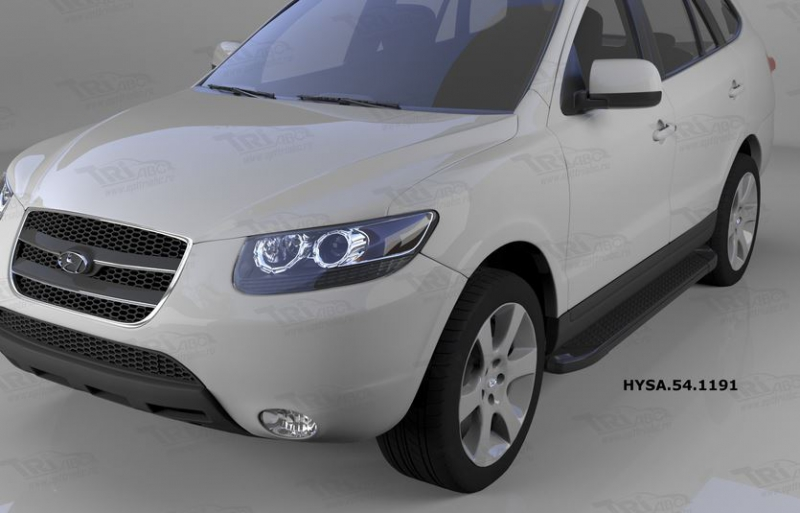 Пороги алюминиевые (Sapphire Black) Hyundai Santa Fe (Хёндай Санта Фе) (2006-2010-2012) кроме Тагаз,