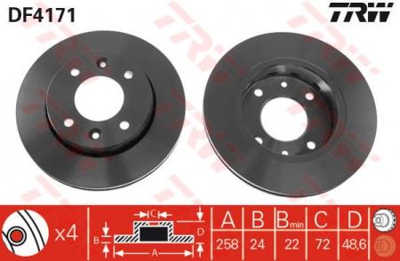 Диск тормозной передний, TRW, DF4171