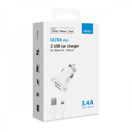 АЗУ 2 USB 3.4А, дата-кабель 8-pin для Apple (MFI), белый, Ultra, Deppa, 11256