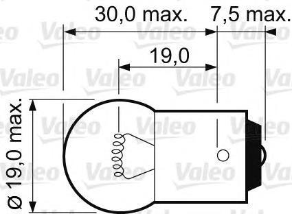 Лампа, 12 В, 10 Вт, R10W, BA15s, VALEO, 032 111