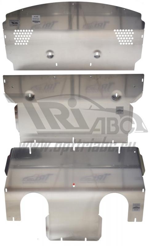 Защита картера двигателя и кпп Porsche Panamera, V-все (2013-) + радиатора из 3-х частей (Алюминий 4