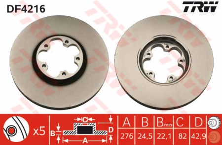 Диск тормозной передний, TRW, DF4216