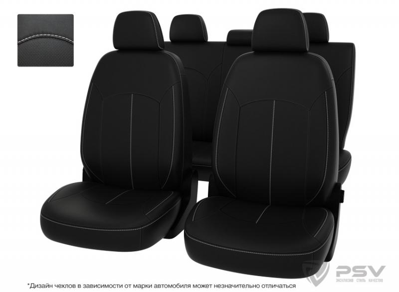 """Чехлы Hyundai Santa Fe II 06-12 черный/отстрочка белая, экокожа """"Оригинал"""", 124939"""