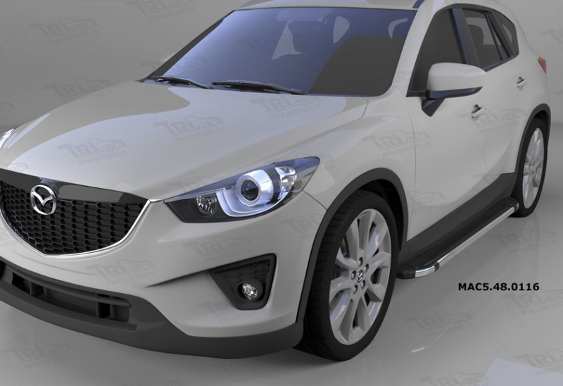 Пороги алюминиевые (Brillant) Mazda (Мазда) CX5 (2012-2015 /2015-) (черн/нерж), MAC5480116