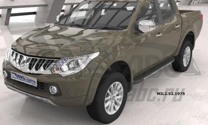 Пороги алюминиевые (Onyx) Mitsubishi L200 (2006-2013 / 2014- / 2015-), MIL2521975