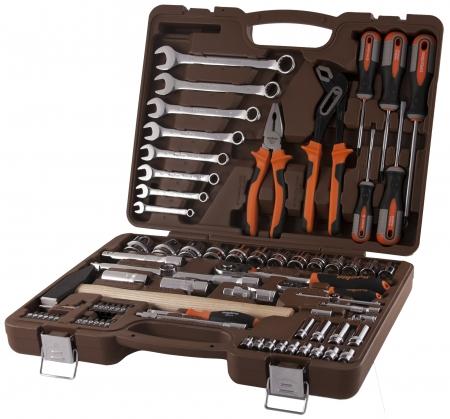 """OMT77S Универсальный набор инструмента торцевые головки 1/4"""", 1/2""""DR 4-32 мм, аксессуары к ним, комбинированные ключи 8-19 мм, отвертки, 77 предметов"""