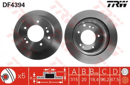 Диск тормозной задний, TRW, DF4394