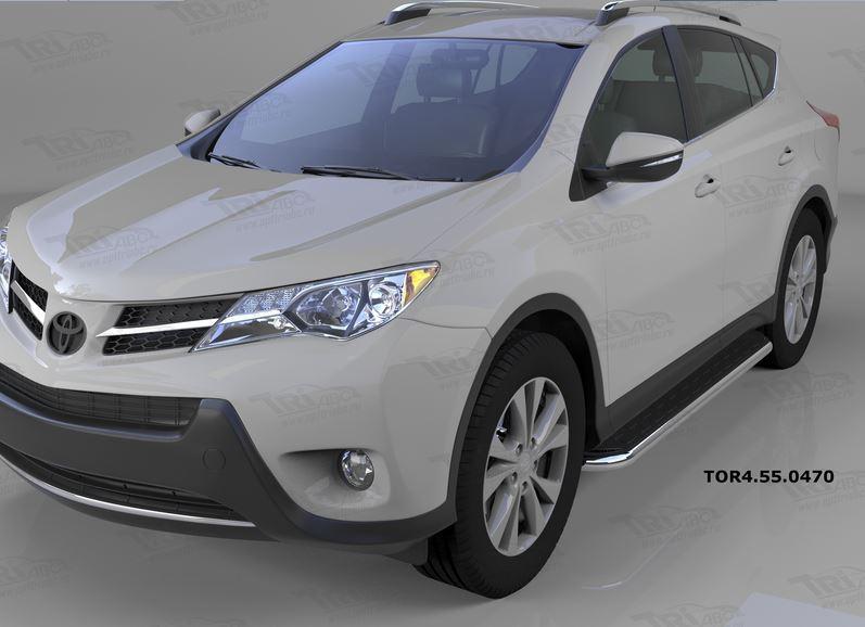 Пороги алюминиевые (Ring) Toyota RAV4 (Тойота РАВ4) (2013-/ 2015-) силовой крепеж, TOR4550470