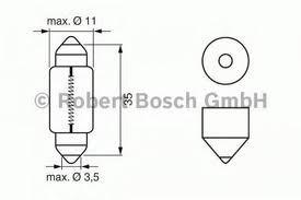 Лампа Trucklight, 24 В, 5 Вт, C5W, SV8,5-8, BOSCH, 1 987 302 507