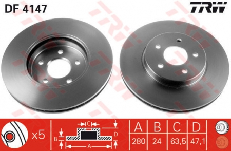 Диск тормозной передний, TRW, DF4147