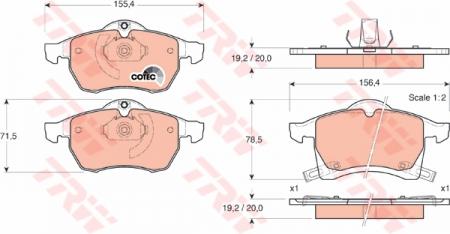 Колодки дисковые Передние, TRW, GDB1350