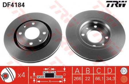 Диск тормозной передний, TRW, DF4184