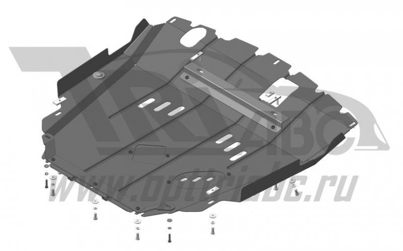 Защита картера двигателя, КПП Chevrolet Captiva 2011-2014- V=2,2i; 2,4i/Opel Antara 2012-н.в. V=2,2i