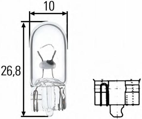 Лампа, 24 В, 3 Вт, W3W, W2,1x9.5d, HELLA, 8GP 003 594-241