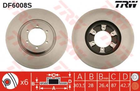 Диск тормозной передний, TRW, DF6008S