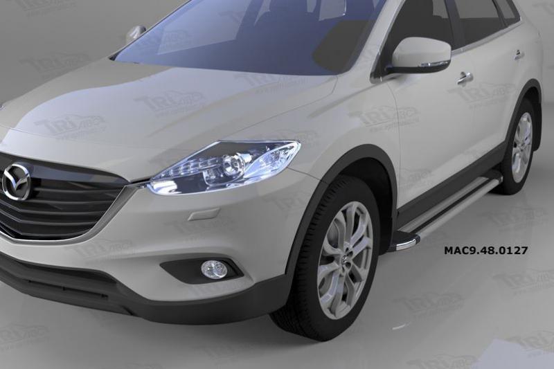 Пороги алюминиевые (Brillant) Mazda (Мазда) CX9 (2013-) (серебр), MAC9480127