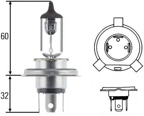 Лампа, 24 В, 75/70 Вт, H4, P43t/38, HELLA, 8GJ 002 525-251