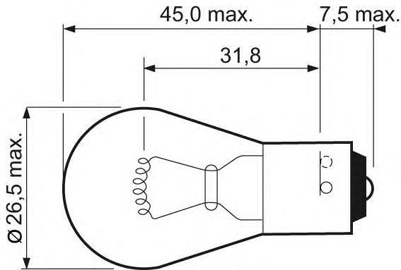 Лампа, 12 В, 21 Вт, PY21W, BAU15s, VALEO, 032 103