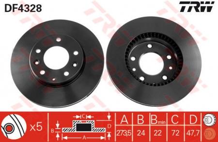 Диск тормозной передний, TRW, DF4328