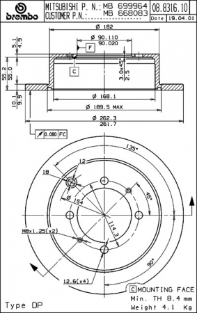 Диск тормозной задний, BREMBO, 08831610