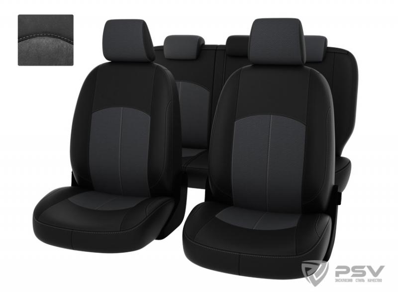 """Чехлы Ford Focus II 05-11г Ghia,Titanium черная экокожа + серая алькантара """"Оригинал"""", 127068"""
