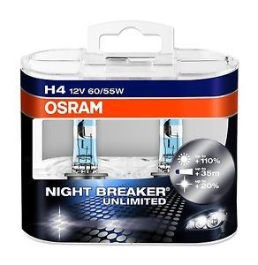Лампа NIGHT BREAKER UNLIMITED, 12 В, 60/55 Вт, H4, P43t, OSRAM, 64193NBUDUOBOX