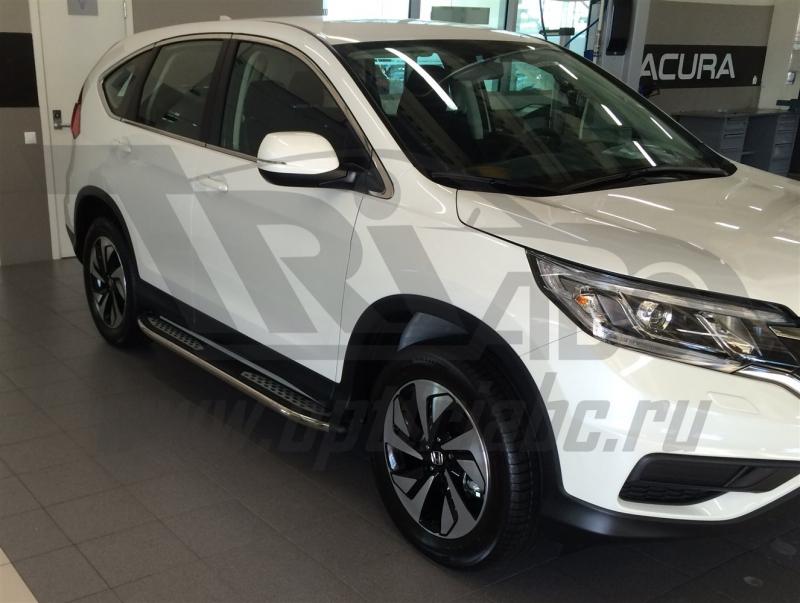 Пороги алюминиевые (Zirkon) Honda (Хонда) CR-V (2012-2014 / 2015-), HOCR591048