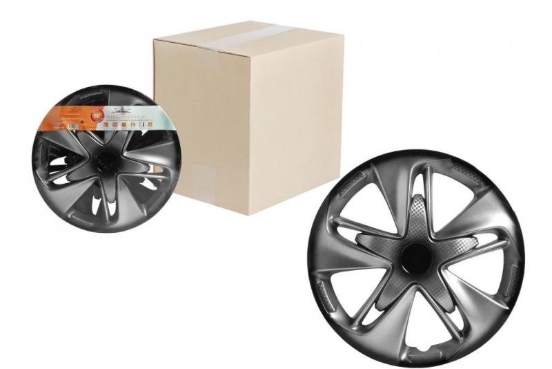 "Колпаки для колес AIRLINE 16""Супер Астра + "" серебристо-чёрный, карбон. 2 шт, AWCC1602"